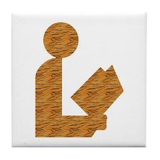 Tiger-Striped Library Logo Tile Coaster