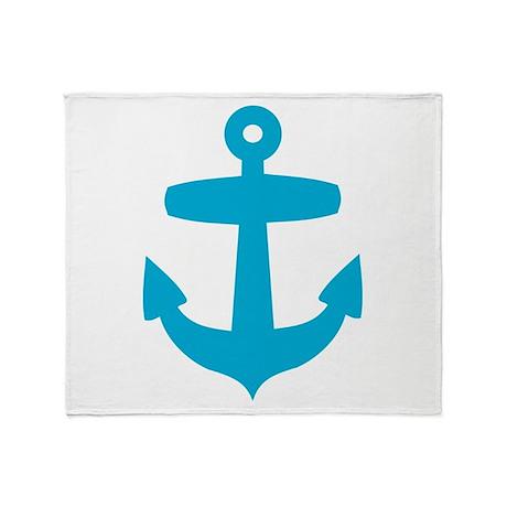 Blue Anchor Throw Blanket