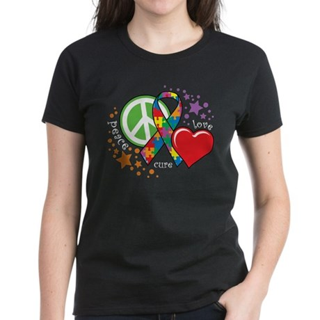Autism-Peace-Love-Cure-blk T-Shirt