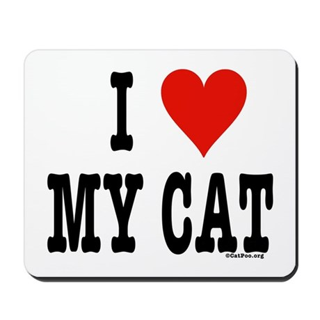 I Heart My Cat (White) Mousepad
