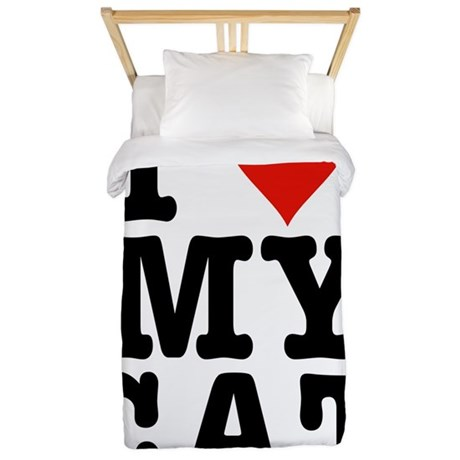 I Heart My Cat (White) Twin Duvet