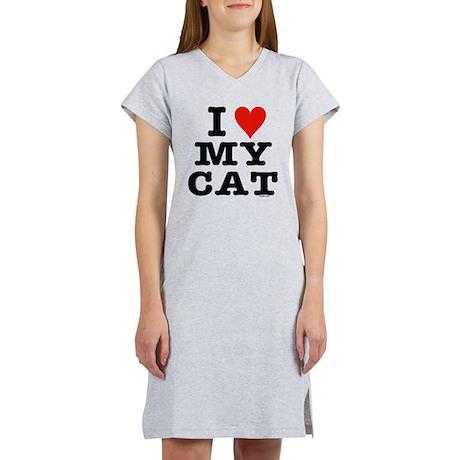 I Heart My Cat (White) Women's Nightshirt