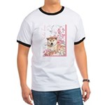 Cherry Blossom Shiba Inu Ringer T