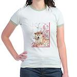 Cherry Blossom Shiba Inu Jr. Ringer T-Shirt