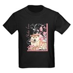 Cherry Blossom Shiba Inu Kids Dark T-Shirt