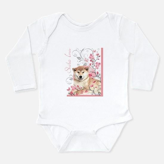 Cherry Blossom Shiba Inu Long Sleeve Infant Bodysu