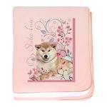 Cherry Blossom Shiba Inu baby blanket