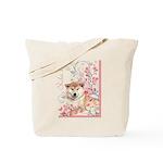 Cherry Blossom Shiba Inu Tote Bag
