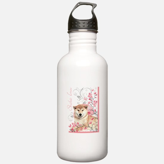 Cherry Blossom Shiba Inu Water Bottle