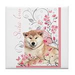 Cherry Blossom Shiba Inu Tile Coaster