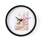 Cherry Blossom Shiba Inu Wall Clock