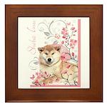 Cherry Blossom Shiba Inu Framed Tile