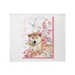 Cherry Blossom Shiba Inu Throw Blanket