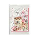Cherry Blossom Shiba Inu Rectangle Magnet (100 pac