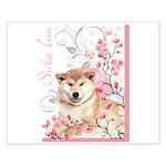 Cherry Blossom Shiba Inu Small Poster