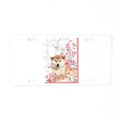 Cherry Blossom Shiba Inu Aluminum License Plate