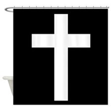 White Cross Shower Curtain