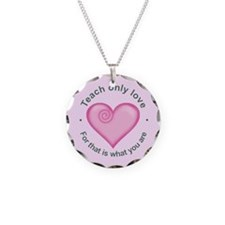 Funny Love teaching Necklace Circle Charm