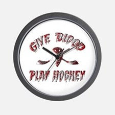 Give Blood Play Hockey Wall Clock