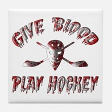 Give Blood Play Hockey Tile Coaster