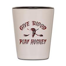 Give Blood Play Hockey Shot Glass