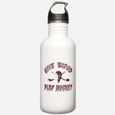 Give Blood Play Hockey Water Bottle