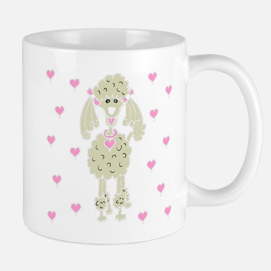Cream Poodle with Hearts Mug