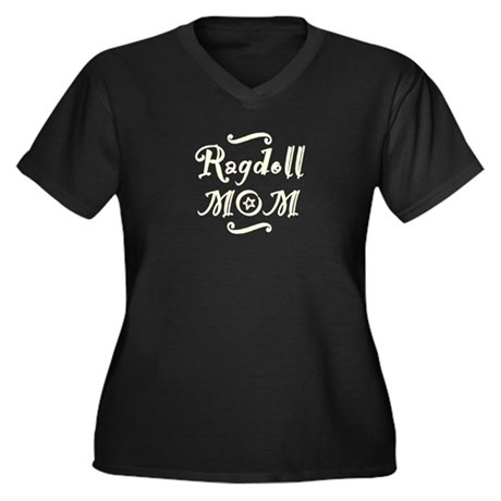 Ragdoll MOM Women's Plus Size V-Neck Dark T-Shirt