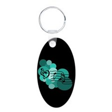 Teal Blue Music Notes and Spo Keychains