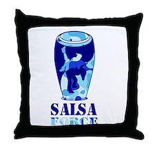 Salsa Force Blue Throw Pillow