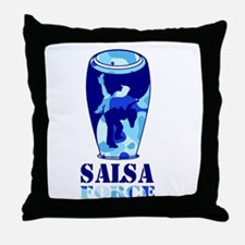 Salsa Force Blue Throw Pillow