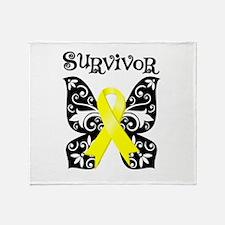 Survivor Butterfly Ewing Sarcoma Throw Blanket