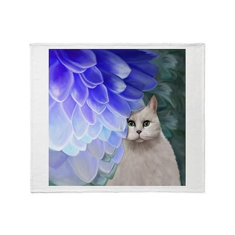 Cat with Zinnia Throw Blanket
