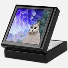 Cat with Zinnia Keepsake Box