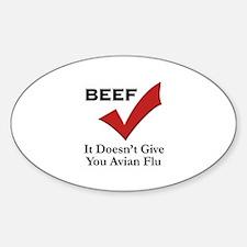Beef=No Avian Flu Oval Decal