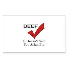 Beef=No Avian Flu Rectangle Decal