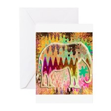 Golden_TieDyed_Elephant Greeting Cards (Pk of 20)
