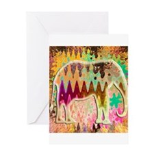 Golden_TieDyed_Elephant Greeting Card