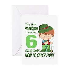 6 Year Old Fisherman Greeting Card