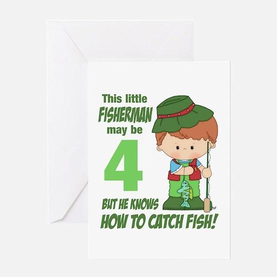 4 Year Old Fisherman Greeting Card