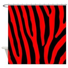 Red and Black Zebra Stripes Shower Curtain
