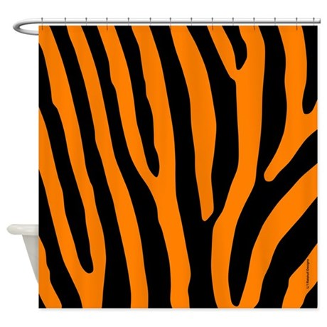 Orange and Black Zebra Stripes Shower Curtain