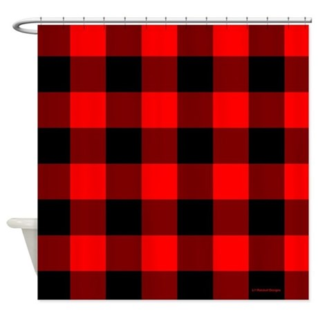 Red And Black Checkered Shower Curtain By Rainbowhot