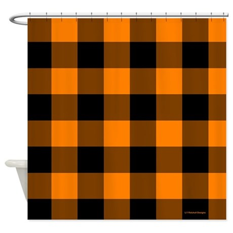 Orange and Black Checkered Shower Curtain