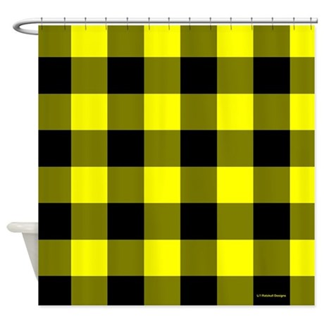 yellow and black checkered shower curtain by rainbowhot. Black Bedroom Furniture Sets. Home Design Ideas