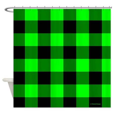 Green and Black Checkered Shower Curtain
