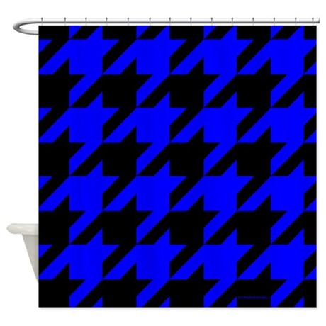 Blue And Black Houndstooth Shower Curtain By Rainbowhot