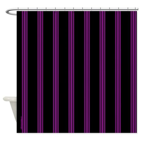 pink and black pinstripe shower curtain by rainbowhot