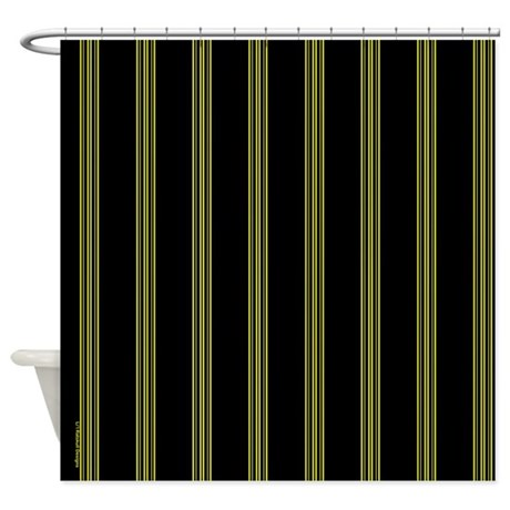 yellow and black pinstripe shower curtain by rainbowhot. Black Bedroom Furniture Sets. Home Design Ideas
