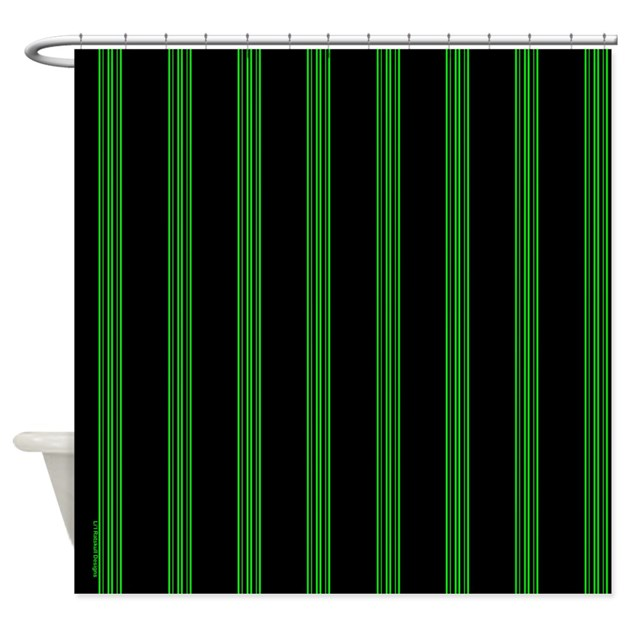 Green And Black Pinstripe Shower Curtain By Rainbowhot